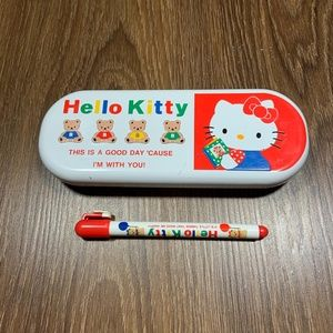 VTG Hello Kitty 1991 Red Metal Pencil Case w/ Pen